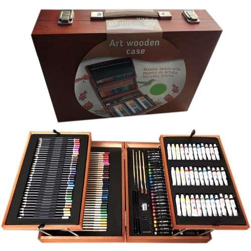 Набор для рисования в чемоданчике из дерева (175 предметов)