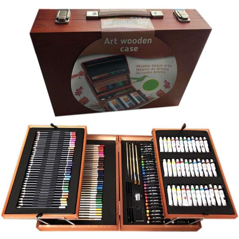 Набор юного художника в чемоданчике из дерева на 175 предметов