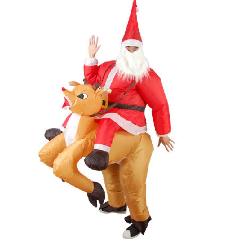 Надувной костюм-наездник Дед мороз на олене
