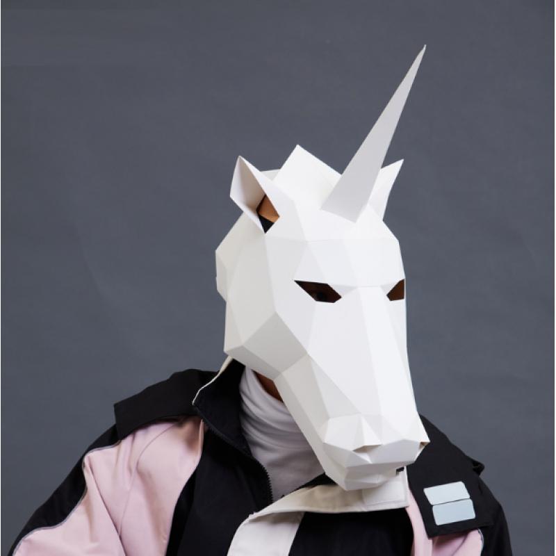 """3д полигональная маска из бумаги """"Единорог"""""""