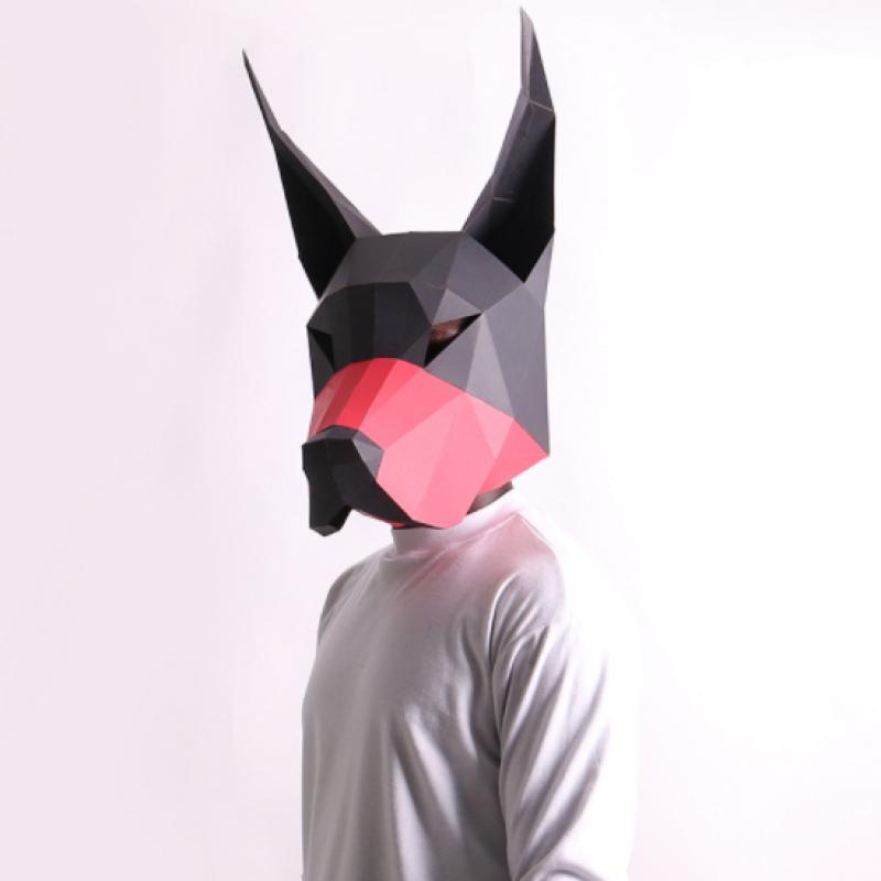 """3д полигональная маска из бумаги """"Доберман"""""""