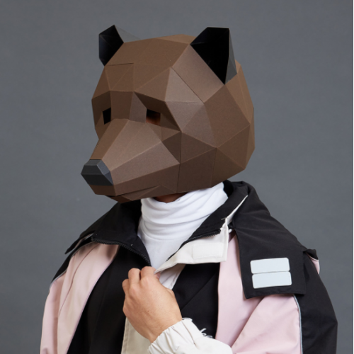 """3д полигональная маска из бумаги """"Медведь"""""""