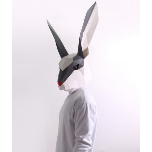 "3д полигональная маска из бумаги ""Заяц"""