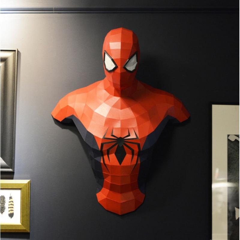 """3д полигональная фигура на стену из бумаги """"Спайдермен"""""""