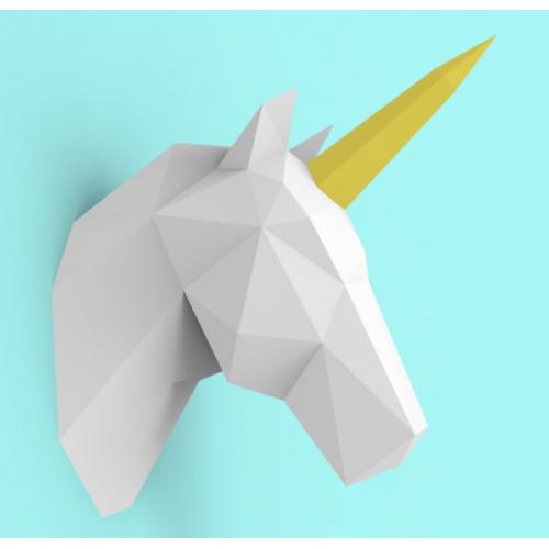 """3д полигональная фигура на стену из бумаги """"Единорог"""""""