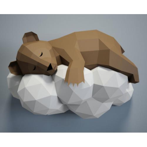 """3д полигональная фигура на стену из бумаги """"Мишка на облаке"""""""