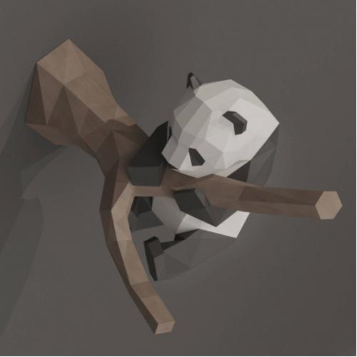 """3д полигональная фигура на стену из бумаги """"Панда"""""""