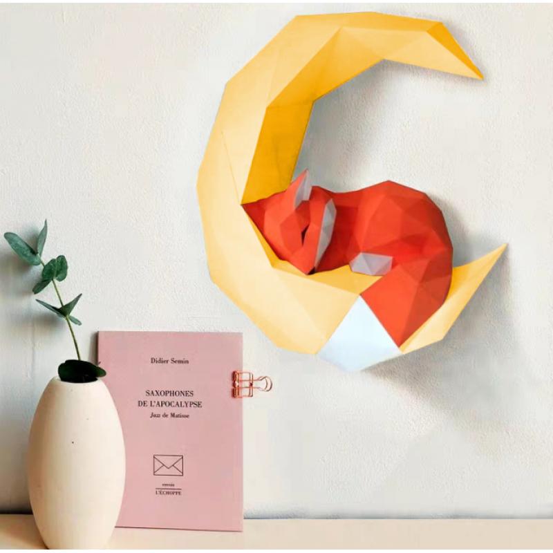 """3д полигональная фигура на стену из бумаги """"Спящий лис"""""""