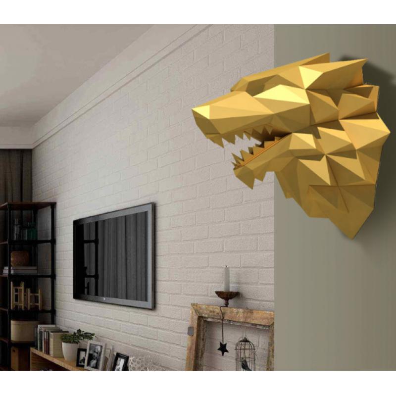 """3д полигональная фигура на стену из бумаги """"Волк"""""""