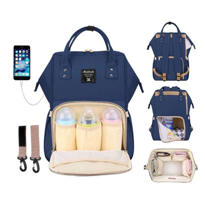 Сумка-рюкзак синий для мамы